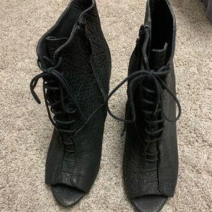 Rachel Roy Black Leather Booties